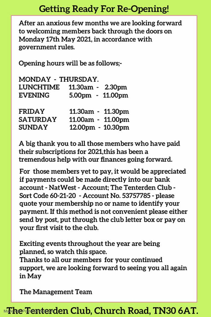 Tenterden Club News