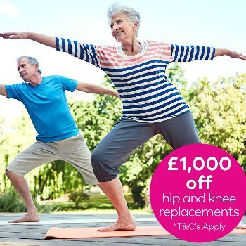Book before 12 February for the Hip and knee replacement offer.