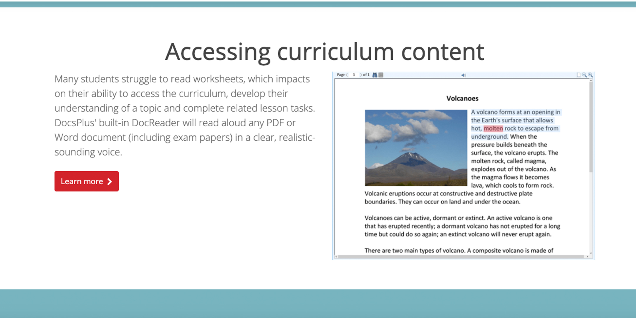 Slide about accessing the curriculum