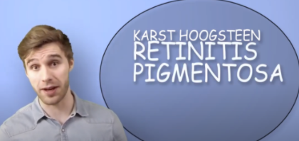 European man standing next to sign of his name Karst Hoogsteen