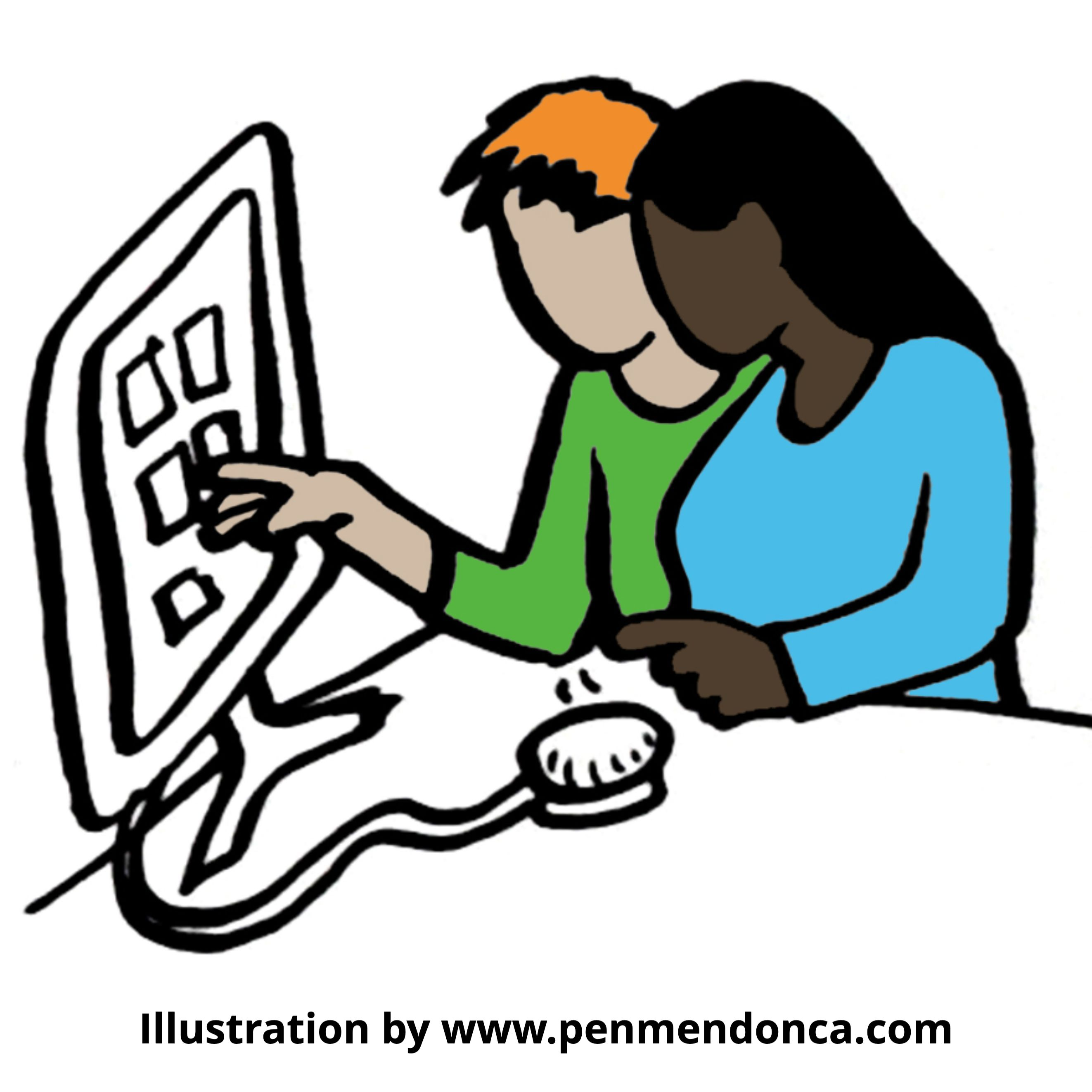 Illustration of two women at a screen