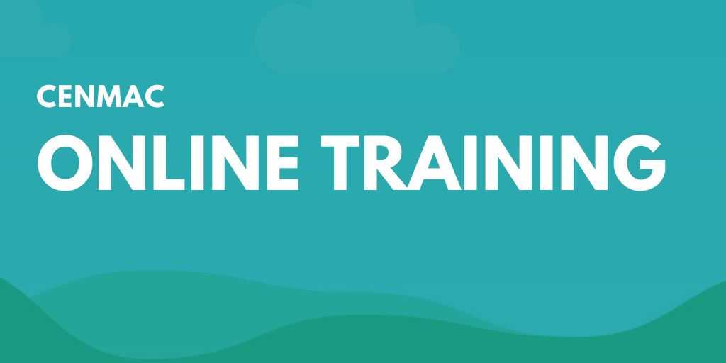 Blue graphic with text cenmac online training