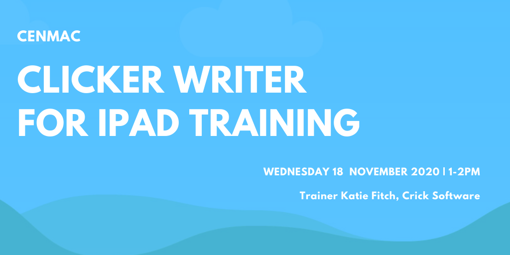 Blue graphic with text Clicker Writer Training