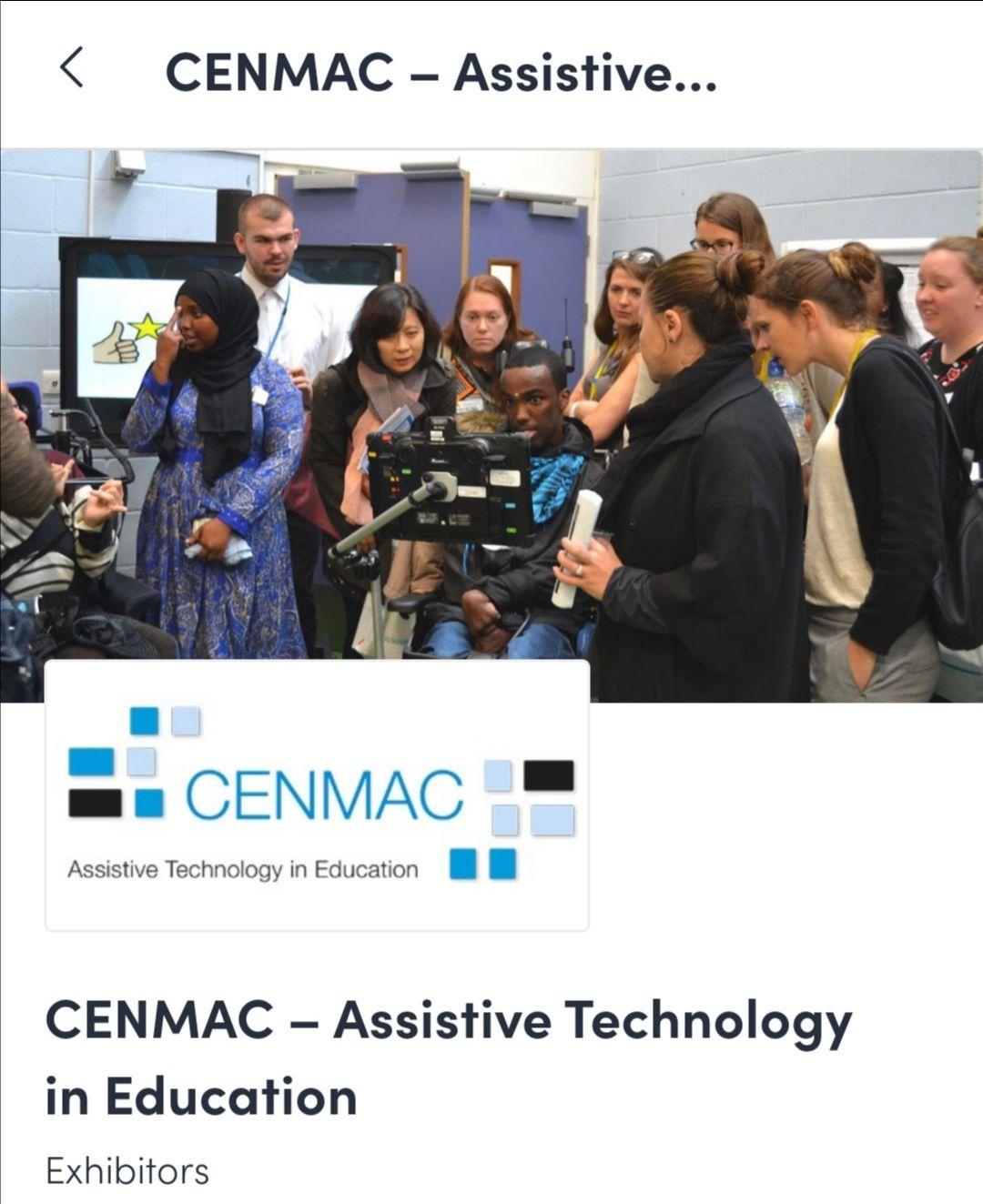 graphic with image of people around a man in a wheelchair and the text CENMAC