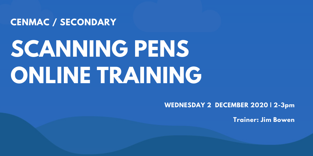 Blue graphic with text  scanning pens training