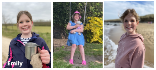 Three images of a young girl in the outdoors