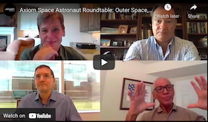 Video call screenshot of four astronauts