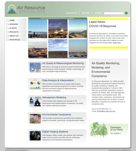 Before pic of ARS homepage