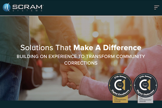 Homepage for SCRAM Systems website with two awards badges