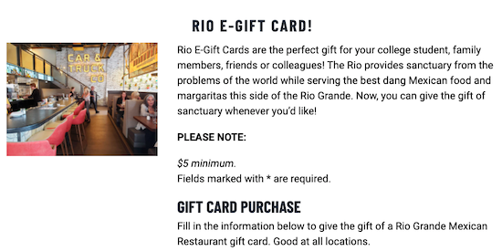 Gift card page on Rio Grande's website