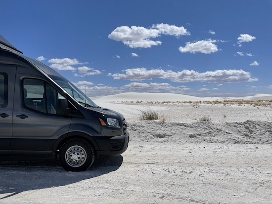 Van parked in front of White Sands National Park