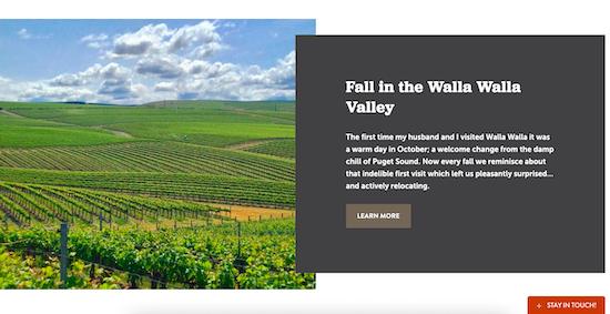 """Screenshot of Walla Walla's web page about """"Fall in the Walla Walla Valley"""""""