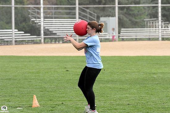 Katy catching a kickball