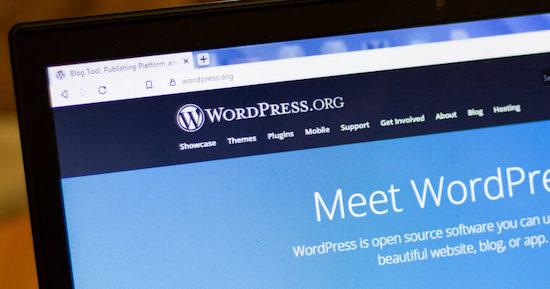 WordPress homepage on laptop
