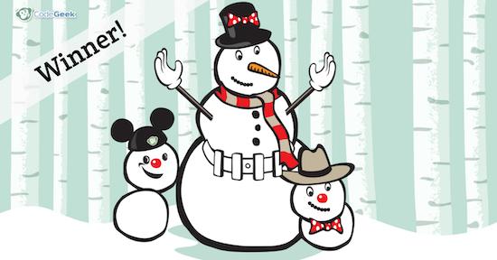 Snowman parent with two snow children