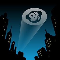 Our CodeGeek Bat-Signal in the night city skyline