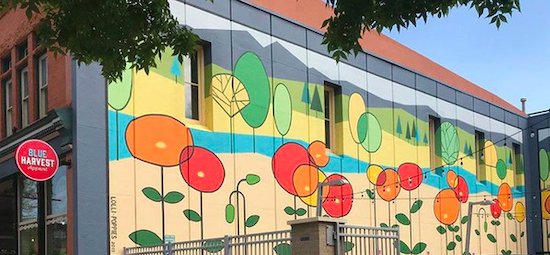 Lolli-poppies building mural by Gale Whitman