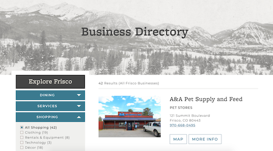 Town of Frisco business directory