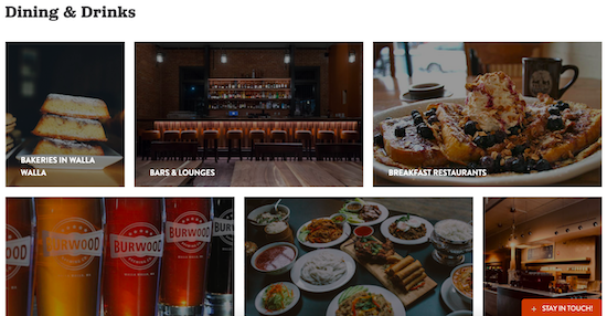 """Sceenshot of Walla Walla's web page about """"Dining & Drinks"""""""