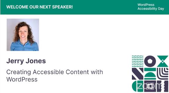 Slide from speaker Jerry Jone's talk