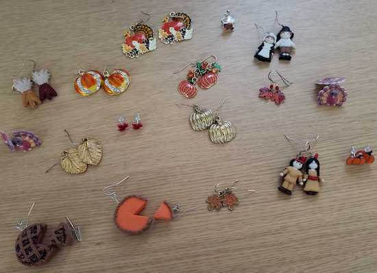Thanksgiving earrings on table