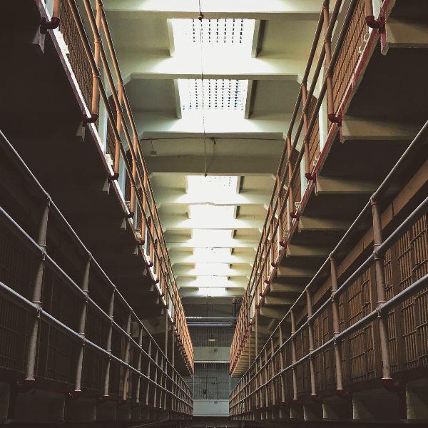 Gloomy prison hallway
