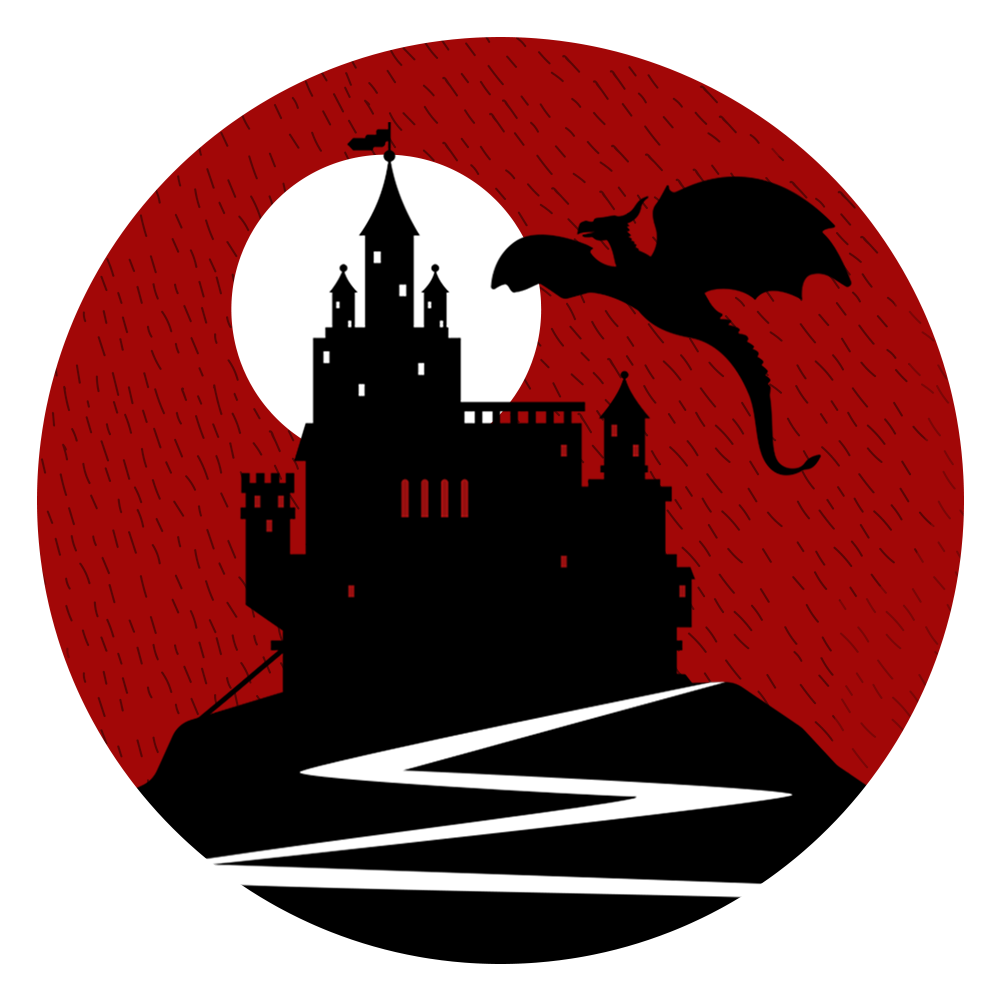 Thoughts Stained With Ink logo of a black dragon flying beside a black, moonlit castle