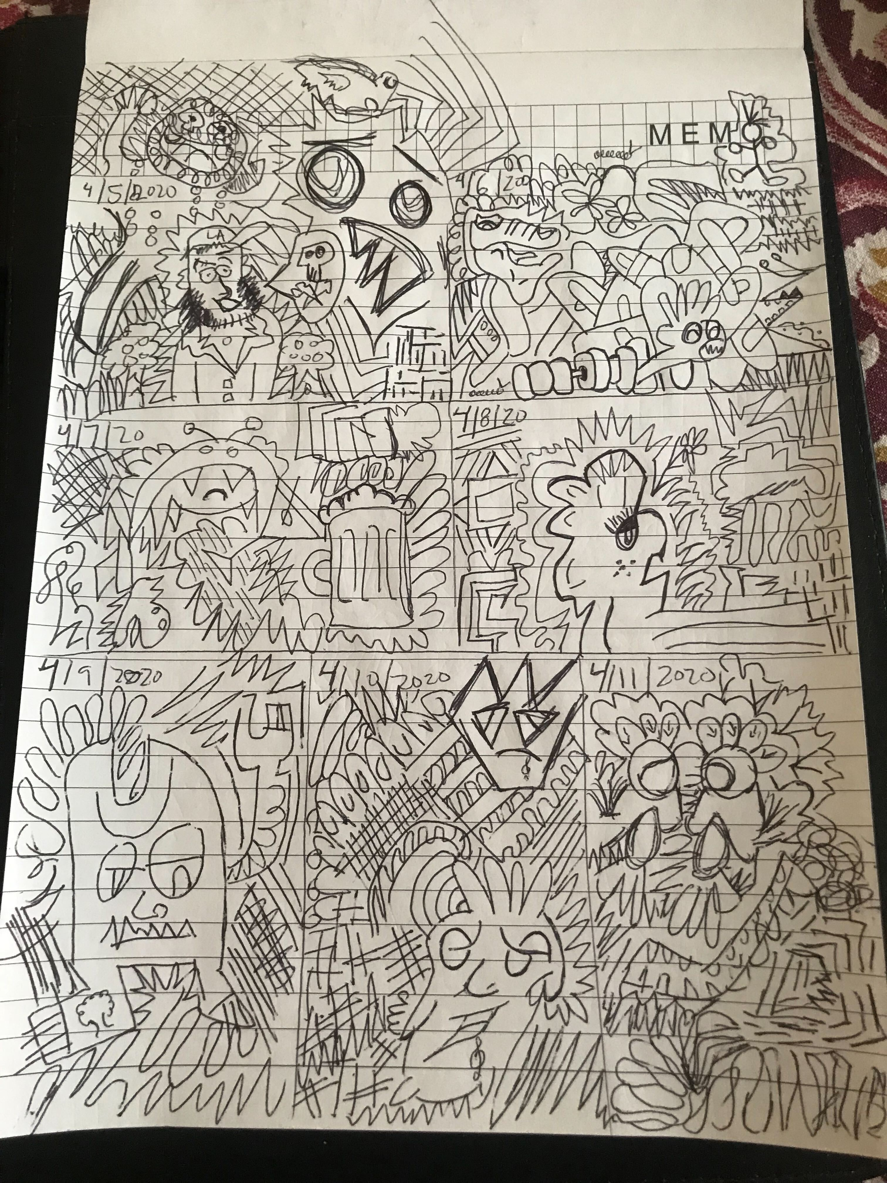 a piece of notebook paper covered in doodles