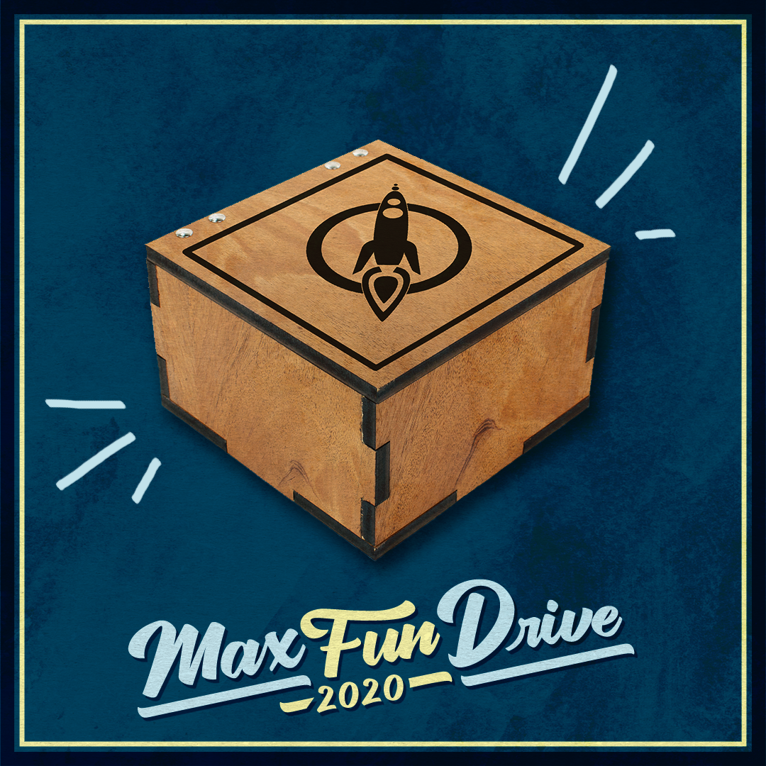 A wooden music box with the MaxFun logo in dark brown on the lid