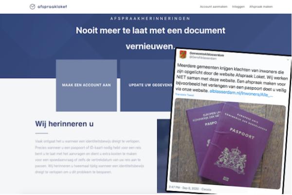 Oplichting met paspoorten en identiteitsbewijzen via Afspraakloket.nl