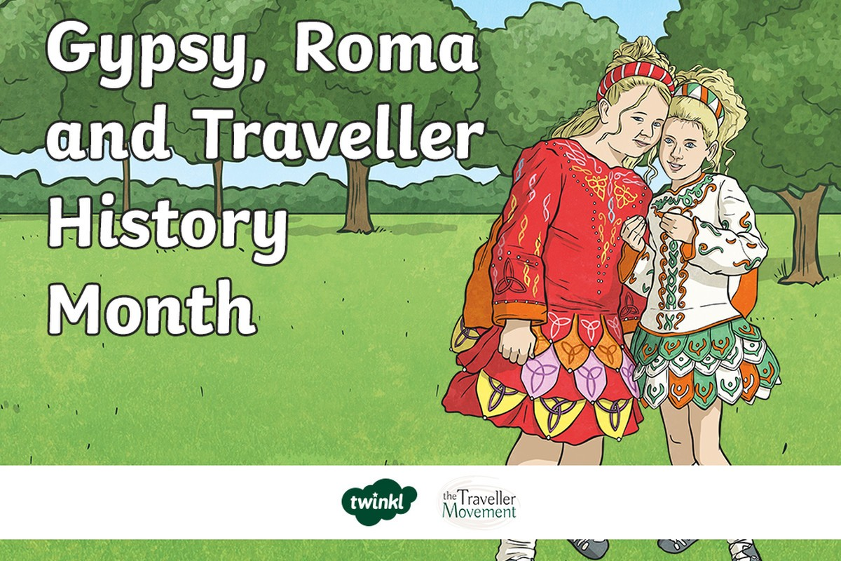 Two traveler girls dressed in traditional traveler clothing