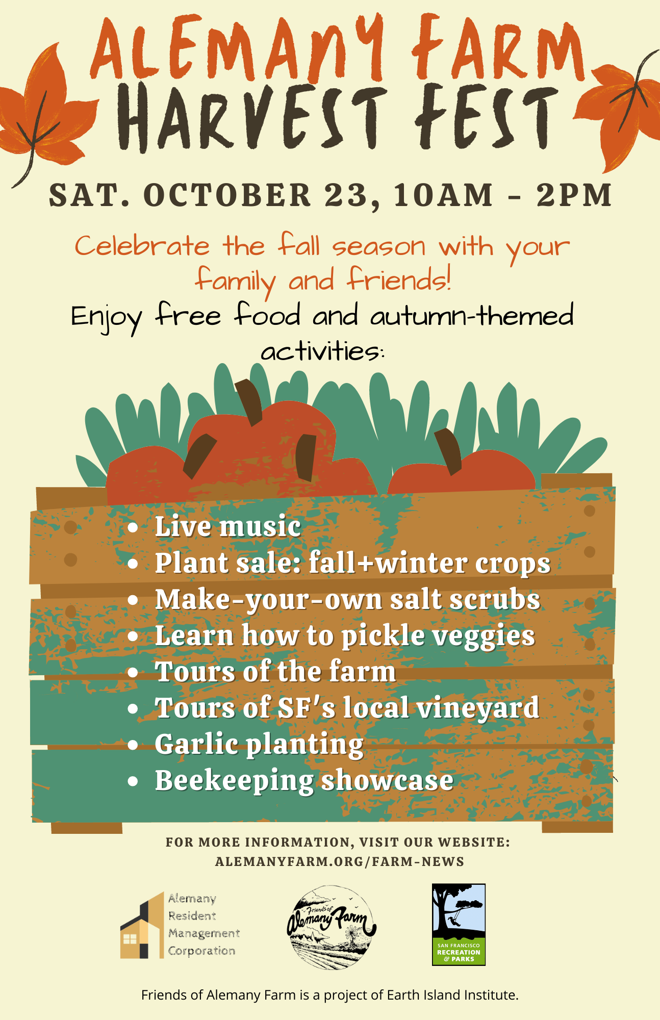 harvest festival flyer showing information included in body of the email