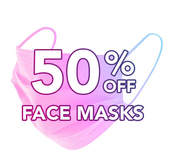 50% off Face Masks
