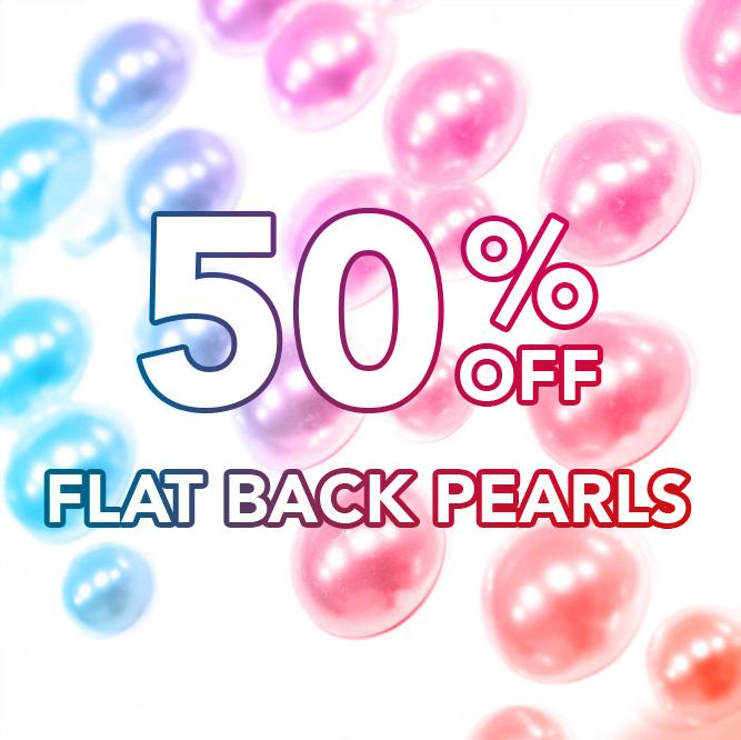 50% off Flat-Back Pearls