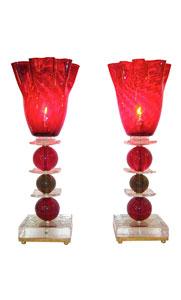 1970s Italian Pair of Red Murano Glass Lamps
