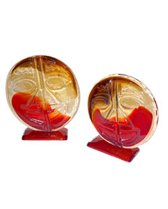 Murano Glass Art Glass objects: red Amber Faces by Cesare Toso 1970s