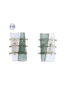 Contemporary Pair of Geometric Crystal & Aqua Green Murano Glass Nickel Sconces