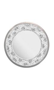 Contemporary Italian Lit Black & Clear Rock Crystal Nickel Round Wall Mirror