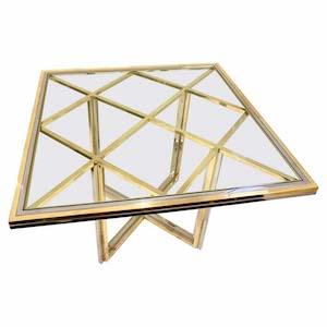 1970s Romeo Rega Italian Geometric Modern Brass & Chrome Vintage Square Table