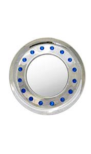 Contemporary Italian Modern Chromed Round Wall Mirror with Jewel Like Blue Glass Rocks