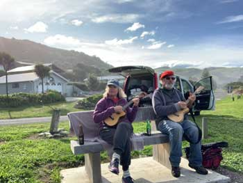 Blair and Natalie playing ukulele