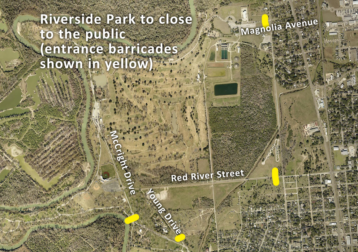 Map of Riverside Park showing barricaded entrances on all sides
