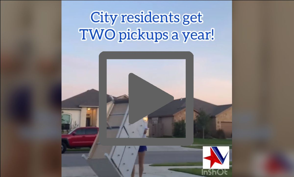 """Woman moves chest of drawers to curb. Text reads, """"City residents get TWO pickups a year!"""""""