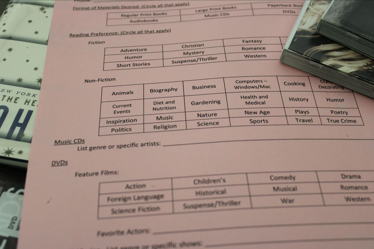 Paper form with areas to circle preferred genres of books, CDs and DVDs.