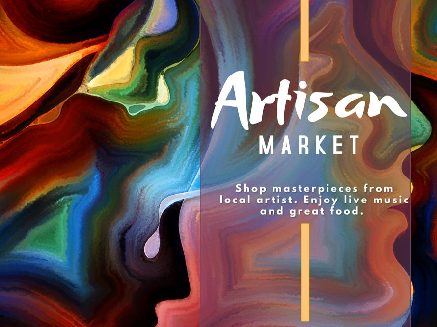 """Abstract art of a woman's face. Text reads, """"Artisan Market. Shop masterpieces from local artists. Enjoy live music and great food."""""""