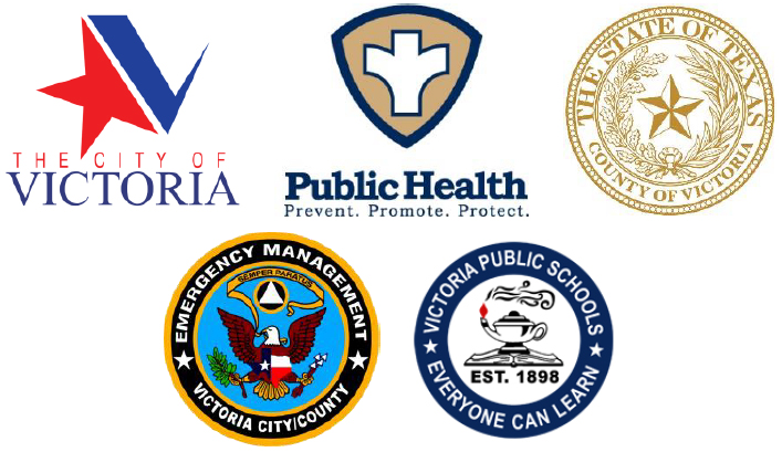 Logos for City of Victoria, Victoria County Public Health Department, Victoria County, Office of Emergency Management, and Victoria Independent School District