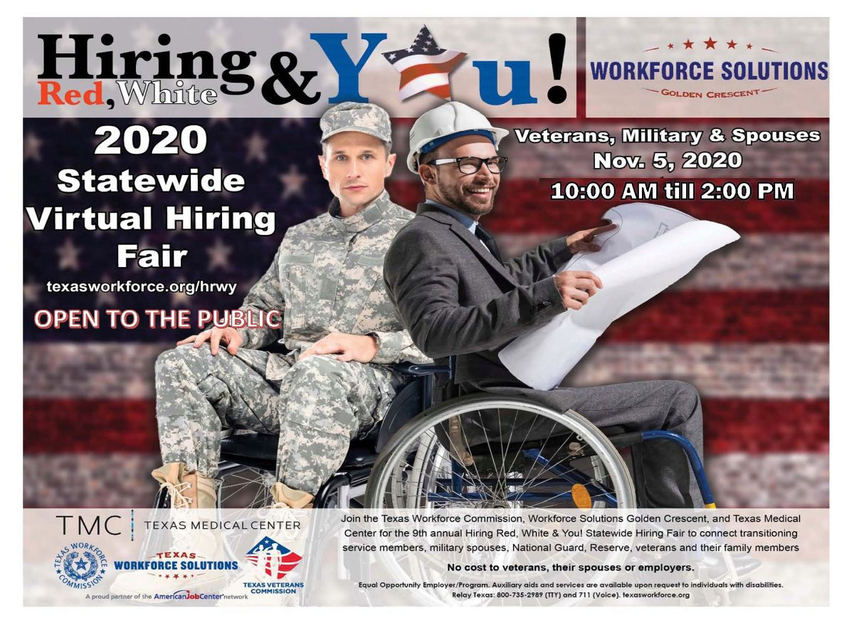 Hiring red, white and you! 2020 statewide virtual hiring fair. Veterans, military and spouses. November 5, 10 a.m. to 2 p.m. texasworkforce.org/hrwy