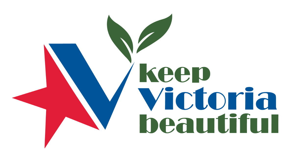 Keep Victoria Beautiful logo: City of Victoria star with leaves growing out of it.