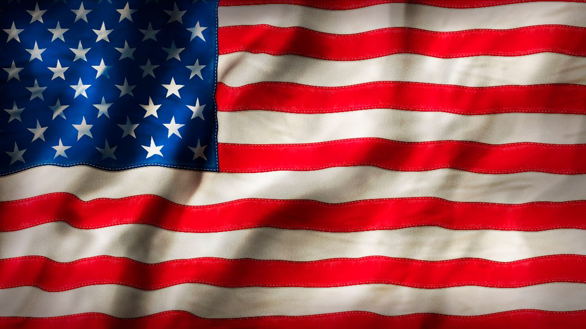 Slightly weathered American flag.