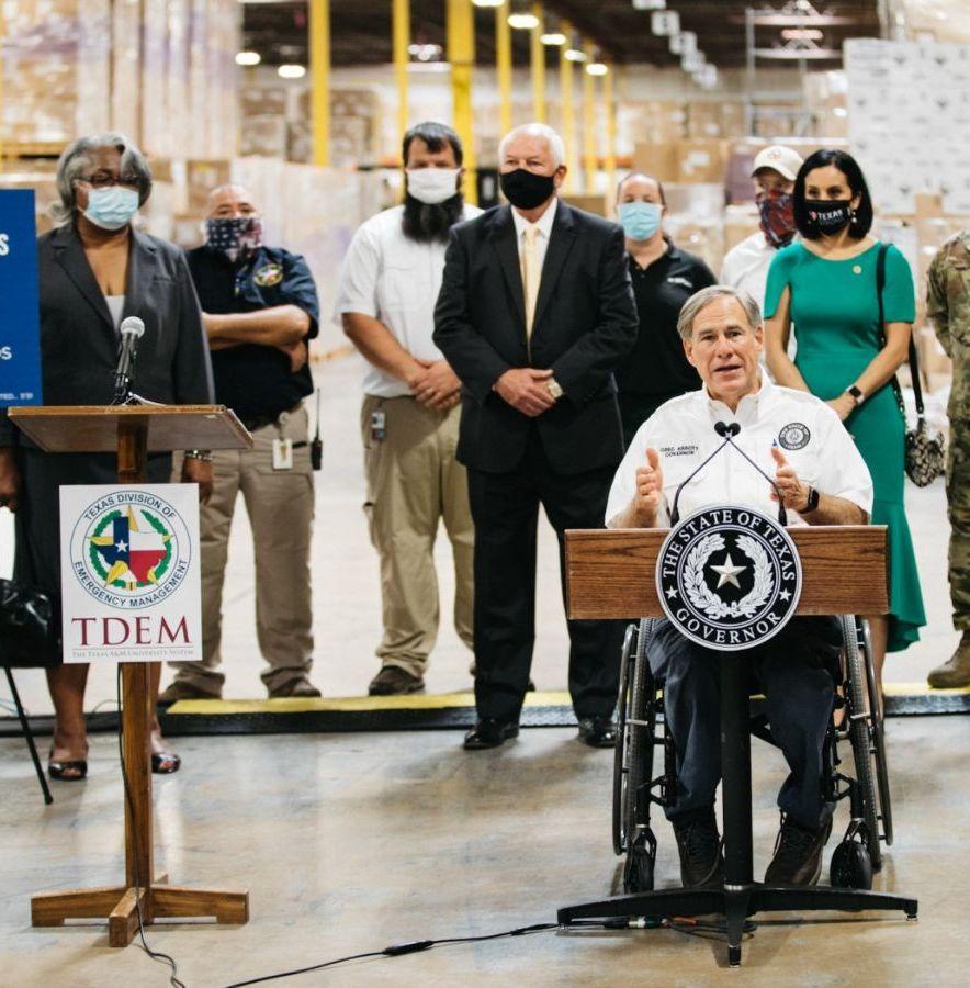 Governor Abbott speaks during media event at warehouse